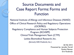 Source Documents and CRFs