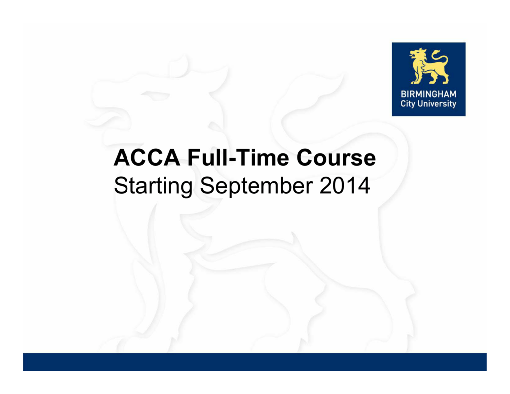 Birmingham City University (Business School) – ACCA Full Time