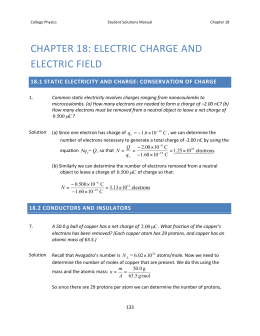 CHAPTER 18: ELECTRIC CHARGE AND ELECTRIC FIELD