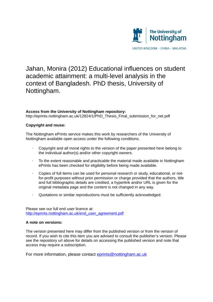nottingham university thesis submission