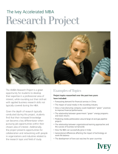 Research Project - Ivey Business School