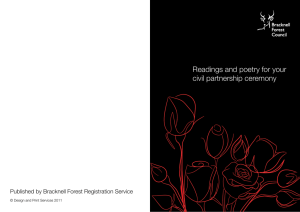 Readings and poetry for your civil partnership