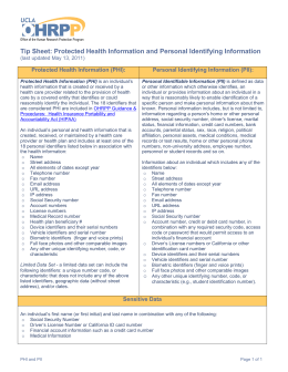 Tip Sheet: Protected Health Information and Personal Identifying