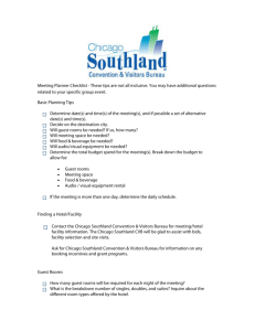 Meeting Planner Checklist - Chicago Southland Convention