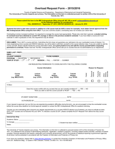 Overload Request Form - University of Toronto