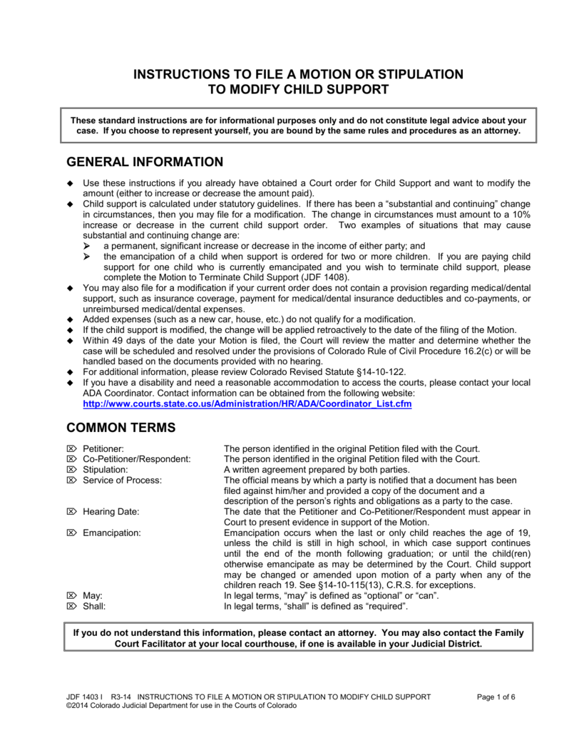 Child Support Modification Form Colorado State Judicial Branch – Colorado Child Support Worksheet