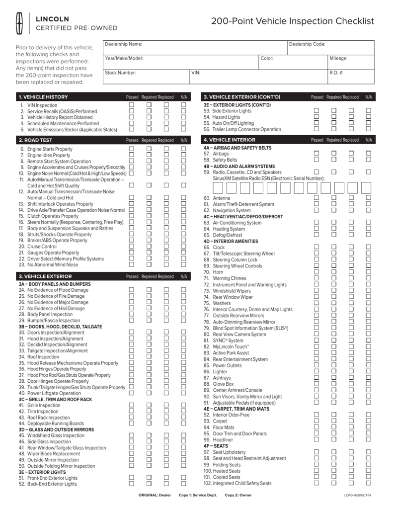 14 point vehicle inspection checklist
