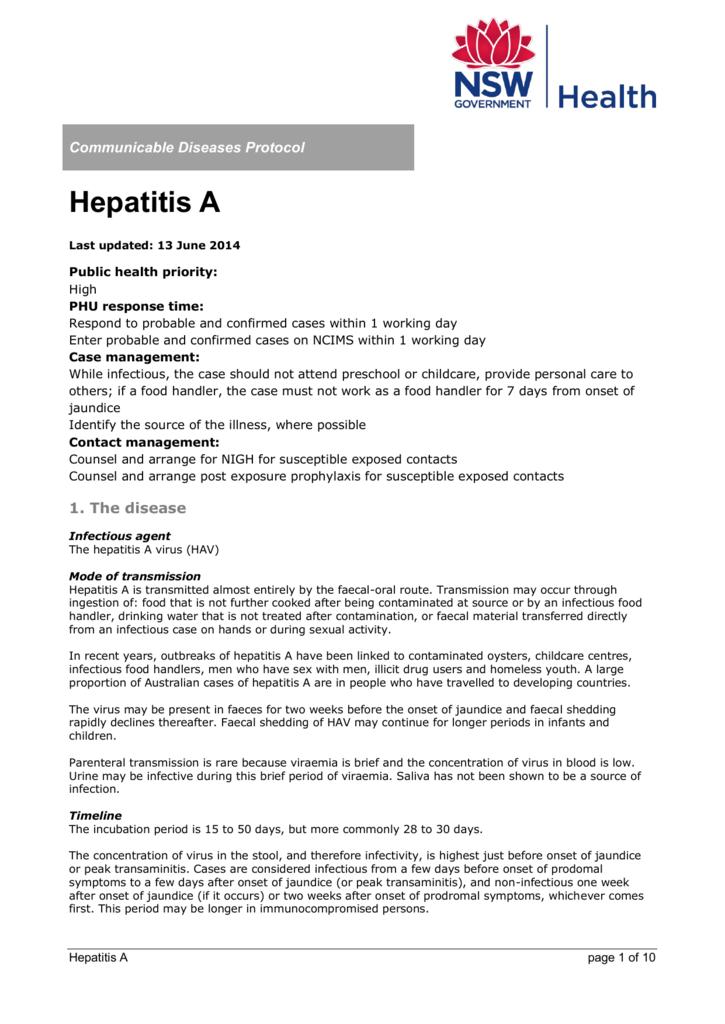 Hepatitis A - NSW Health