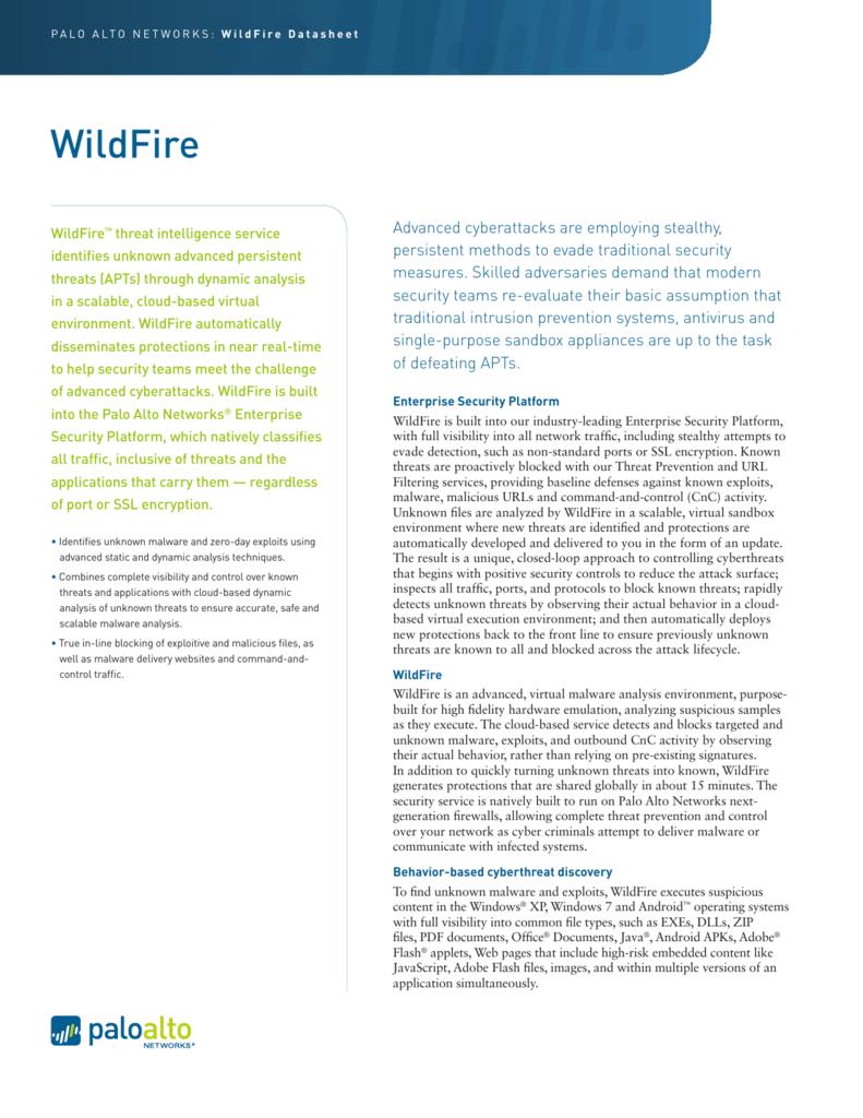WildFire - Palo Alto Networks