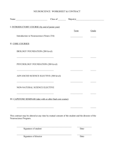 NEUROSCIENCE WORKSHEET & CONTRACT Name Class of