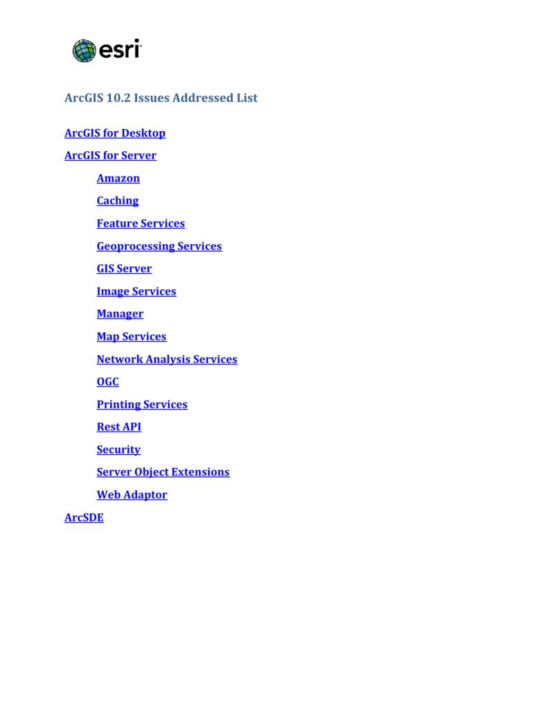 ArcGIS 10 2 Issues Addressed List