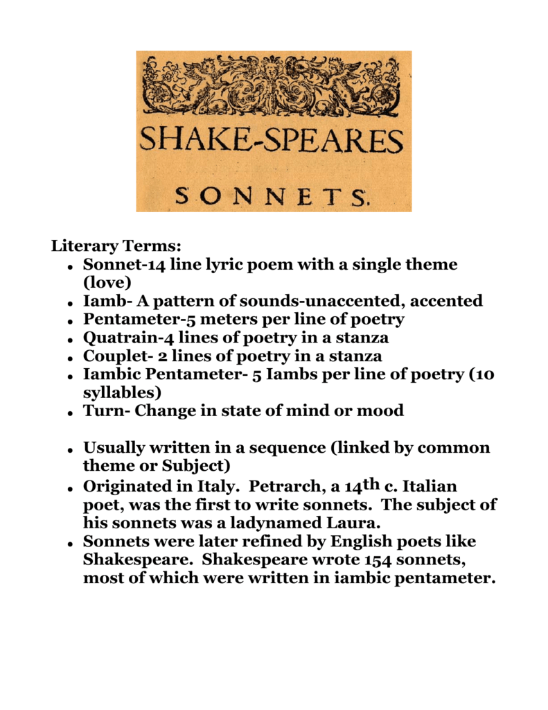Literary Terms Sonnet 14 line lyric poem with a single theme love