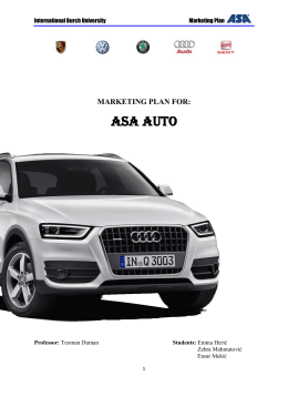 MARKETING PLAN FOR: ASA AUTO