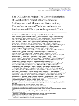 The CODATwins Project: The Cohort Description
