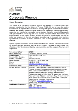 Corporate Finance - ANU College of Business and Economics