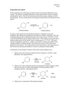 CHEM 31 Lab 5 Preparation of an Alkene In this experiment you will