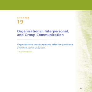 Organizational, Interpersonal, and Group Communication