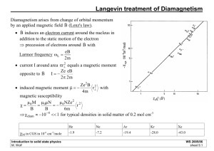 Langevin treatment of Diamagnetism