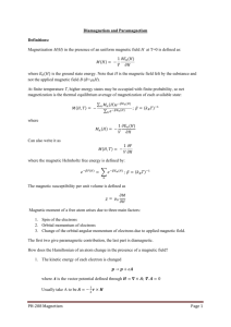 PH-208 Magnetism Page 1 Diamagnetism and Paramagnetism
