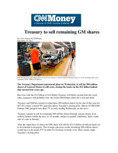Treasury to sell remaining GM shares