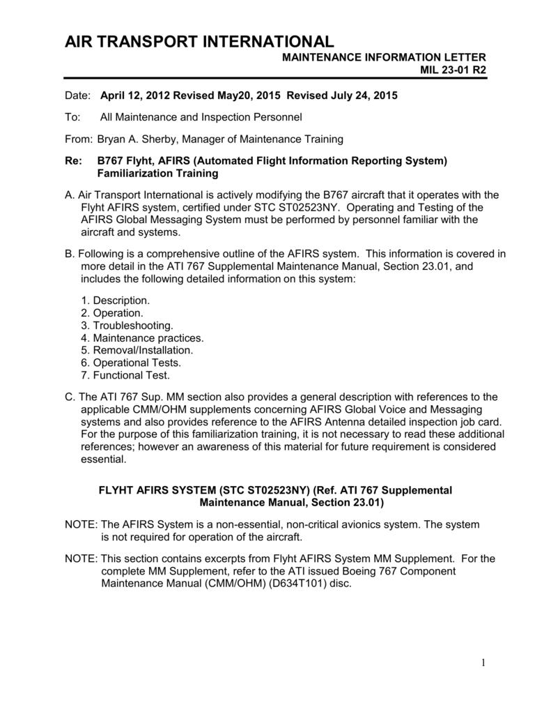 23-01 Flyht AFIRS FAm  Training - airtransport