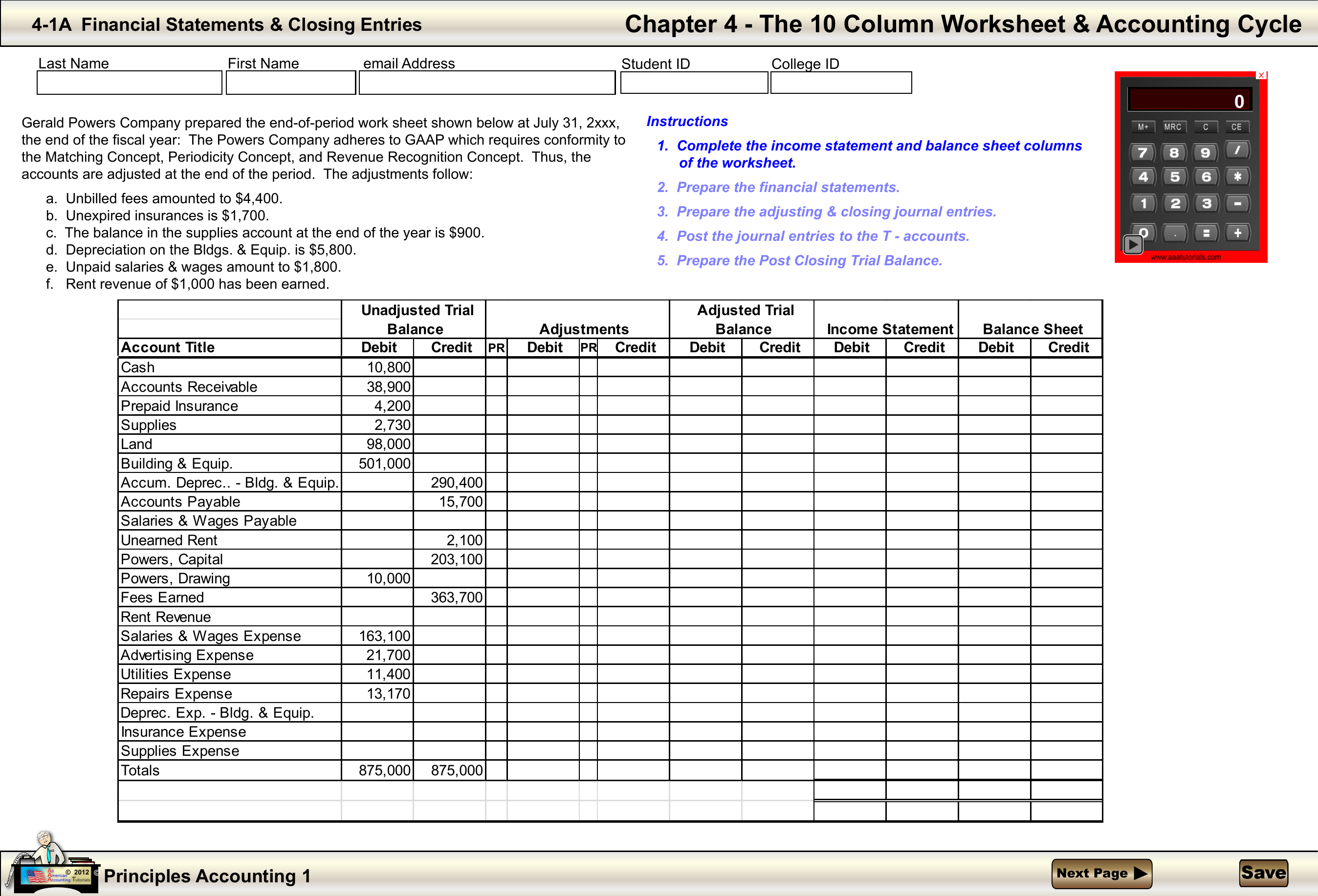 Chapter 4 - The 10 Column Worksheet & Accounting Cycle