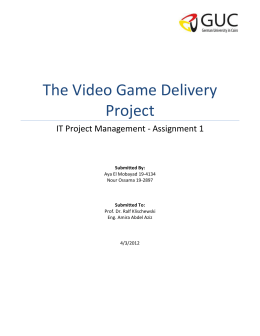 The Video Game Delivery Project