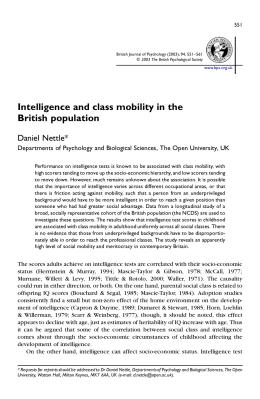 Intelligence and class mobility in the British population