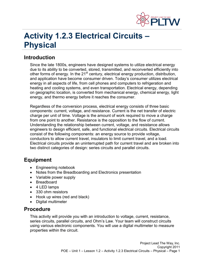 Activity 123 Electrical Circuits Physical Measuring Electronic Part 2