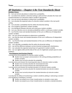 AP Statistics – Chapter 6 Re-Test Standards Sheet