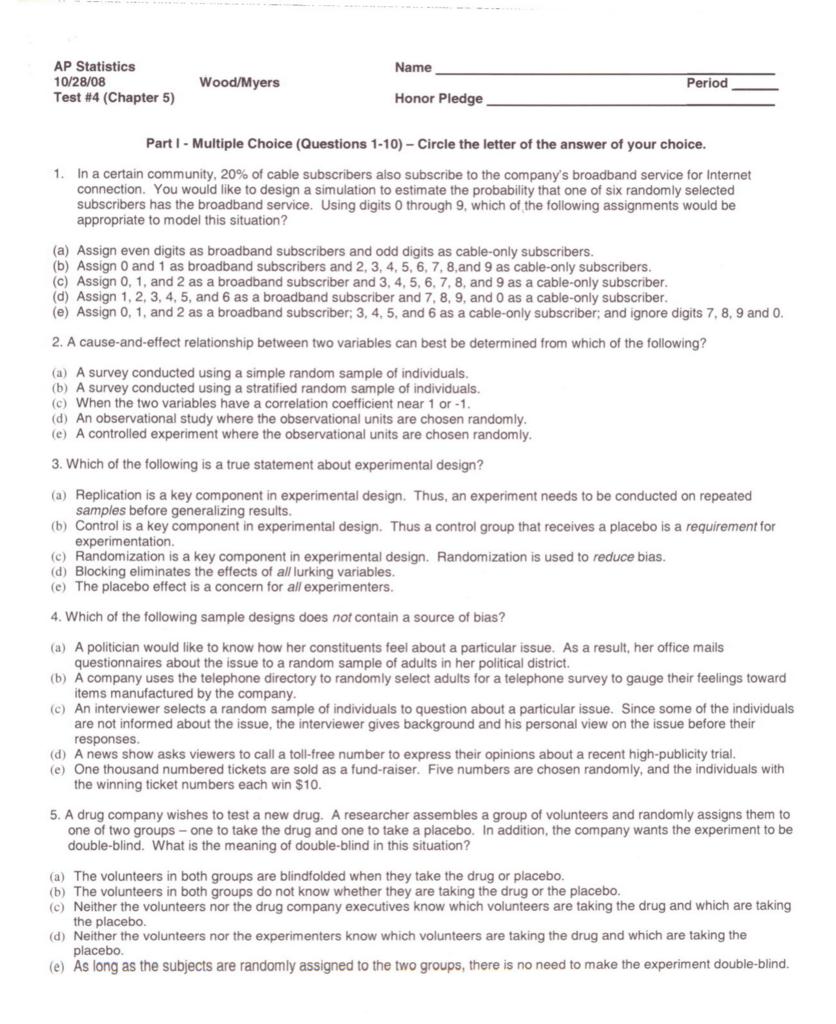 AP Statistics 10/28/08 Test #4 - edventure-ga