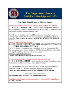 Fire Suppression classes in Sprinkler, Standpipe and S-95