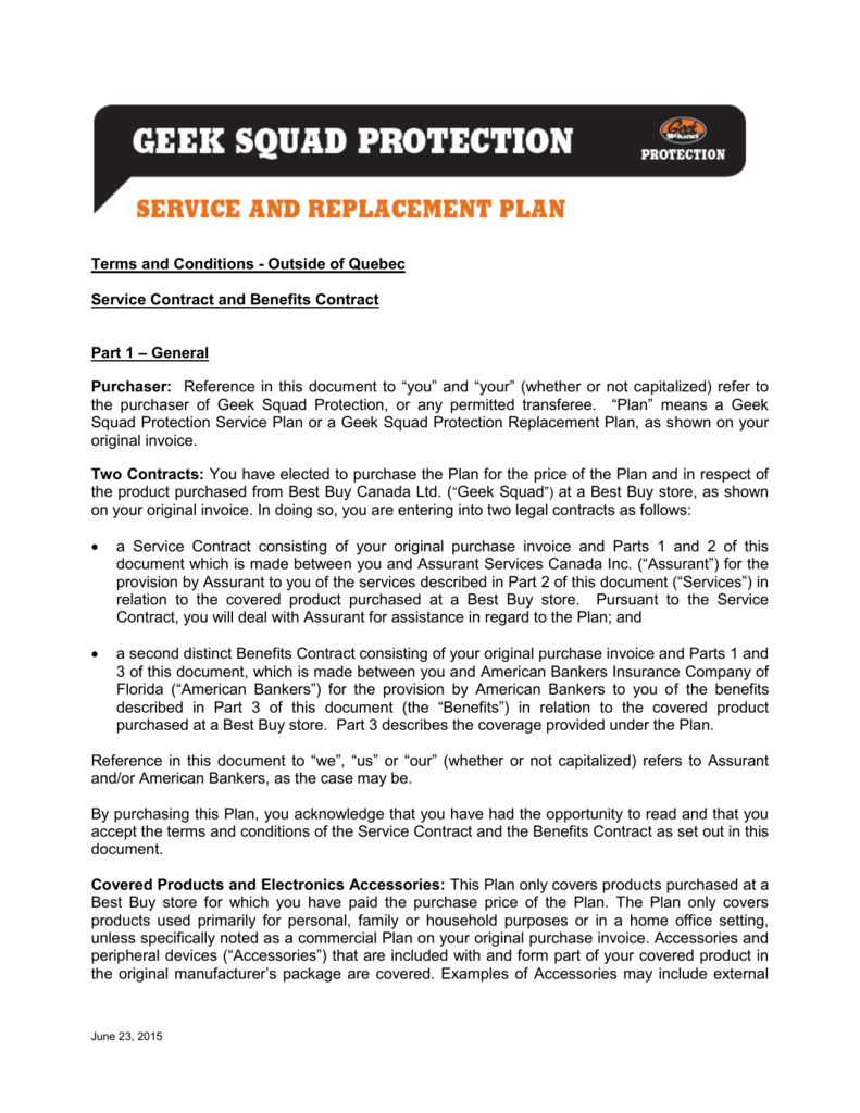 terms and conditions - geek squad protection plan