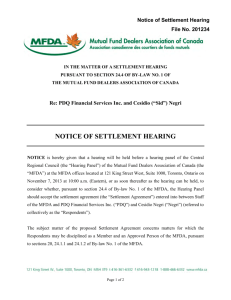 Notice of Settlement Hearing Re: PDQ Financial Services Inc. and