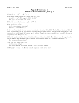 Applied Calculus I Practice Problems for Quiz # 2