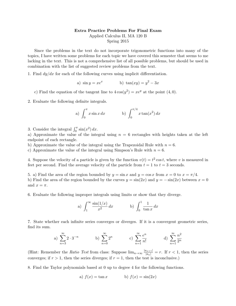 Extra Practice Problems For Final Exam Applied Calculus II