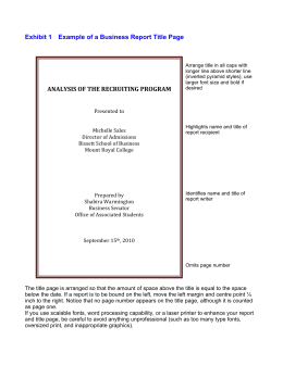 Exhibit 1 Example of a Business Report Title Page ANALYSIS OF