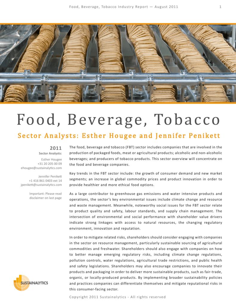 Food, Beverage, Tobacco Industry Report