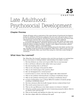 later adulthood development report Later adulthood development report this research paper later adulthood development report and other 64,000+ term papers, college essay examples and free essays are.