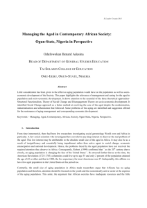 Managing the Aged in Contemporary African Society