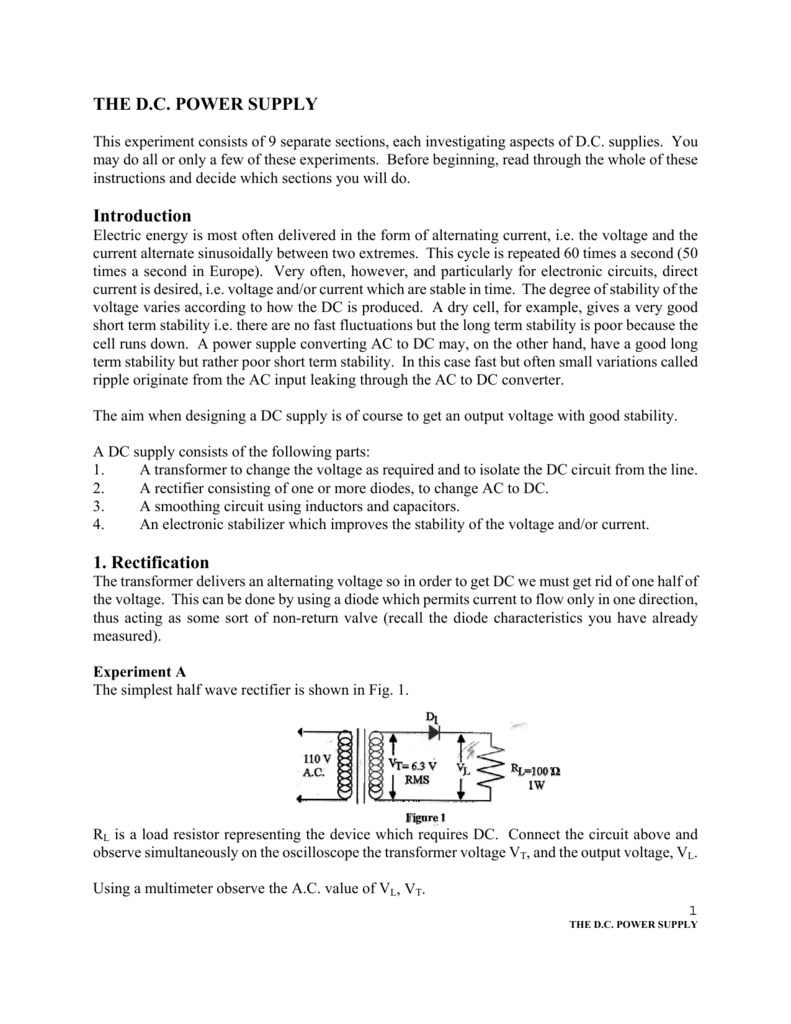The Dc Power Supply Introduction 1 Rectification Dioderectifiercircuitjpg