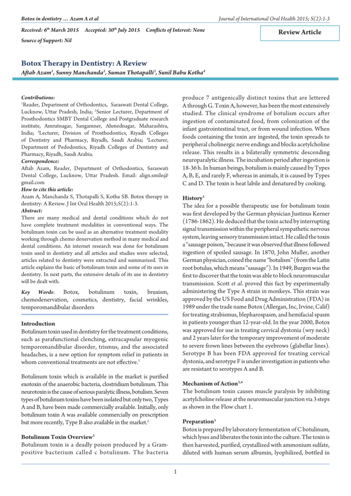 Botox Therapy in Dentistry: A Review