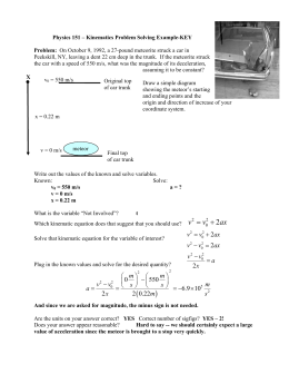 Kinematics Problem Solving Key