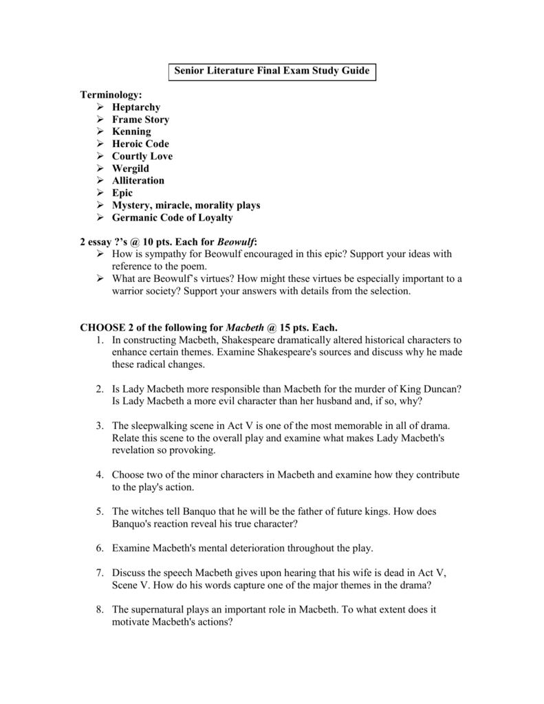 selection test 2 from beowulf answers