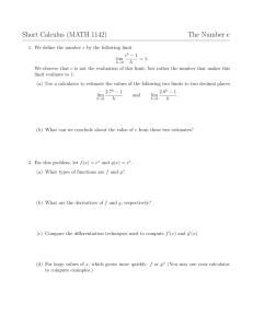Short Calculus (MATH 1142) The Number e