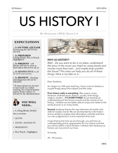 Read the Course Outline - Mr. McLennan's US History I