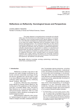 Reflections on Reflexivity: Sociological Issues and Perspectives