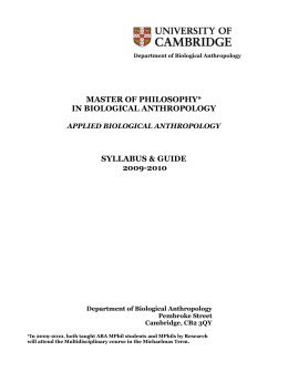 MPhil in Applied Biological Anthropology syllabus 2009