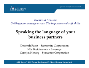 102 - Speaking the Language of your business partners