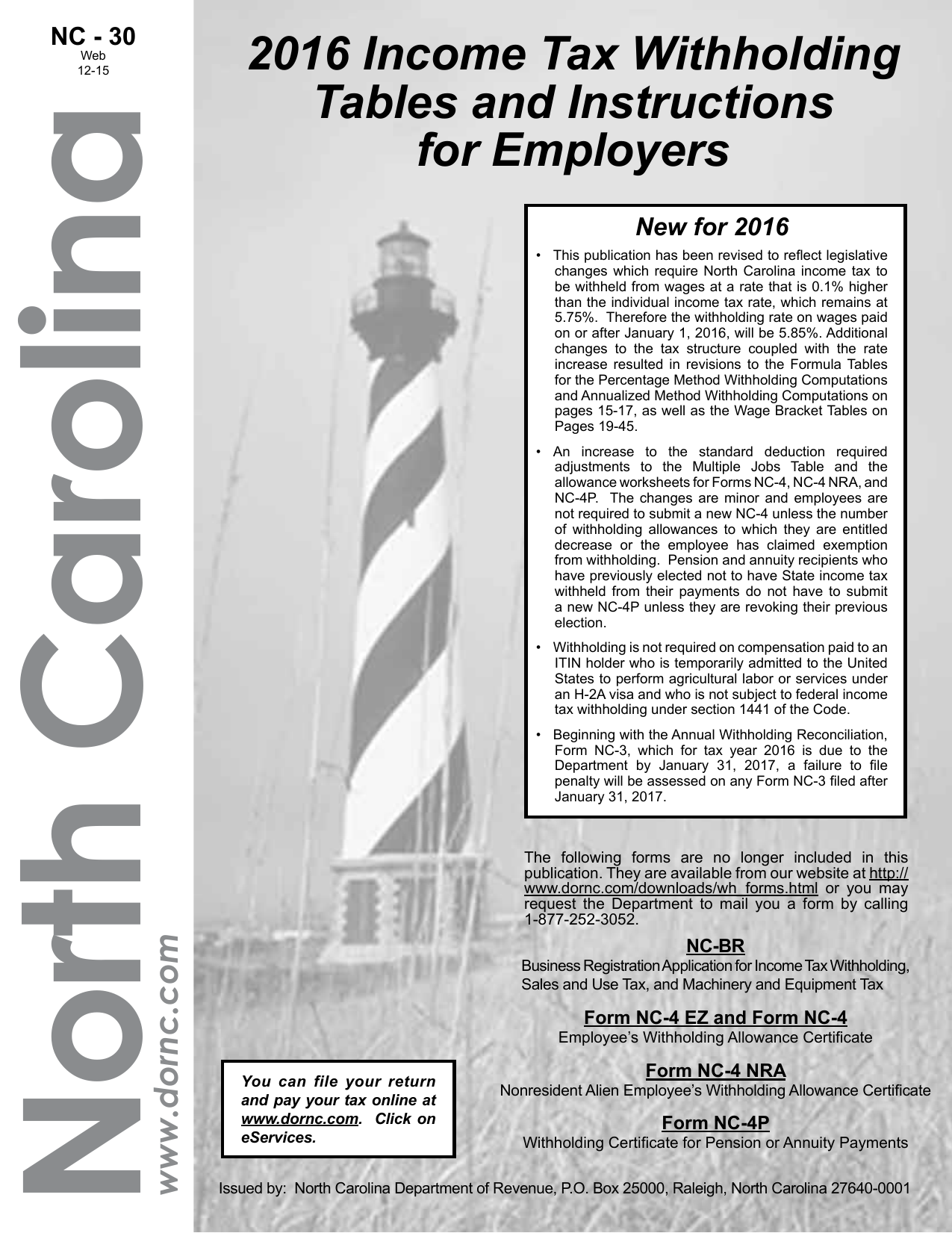 2016 Income Tax Withholding Tables and Instructions for Employers